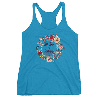 His Grace Is Sufficient - Ladies' Triblend Racerback Tank-Vintage Turquoise-XS-Made In Agapé
