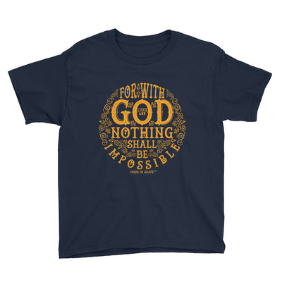 Nothing Impossible With God - Youth Short Sleeve Tee-Navy-XS-Made In Agapé