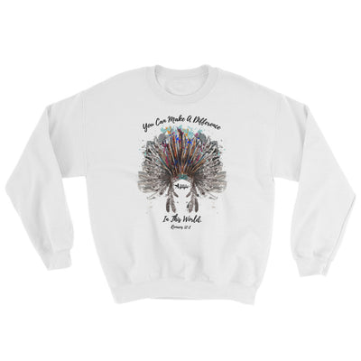 Make A Difference In This World - Women's Sweatshirt-White-S-Made In Agapé