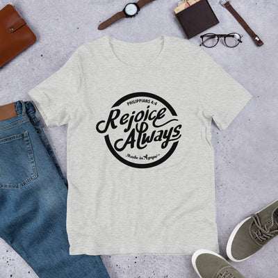 Rejoice Always - Cozy Fit Short Sleeve Tee-Athletic Heather-S-Made In Agapé