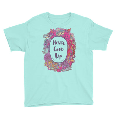 Never Give Up - Youth Short Sleeve Tee-Teal Ice-S-Made In Agapé