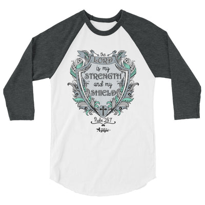 Lord Is My Strength And Shield - Unisex 3/4 Sleeve Raglan Baseball Tee-White/Heather Charcoal-XS-Made In Agapé