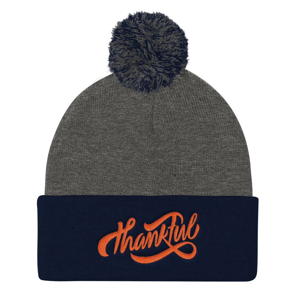 Thankful - Pom Pom Knit Beanie-Dark Heather Grey/ Navy-Made In Agapé