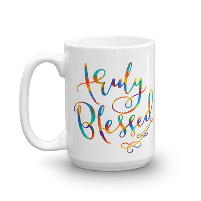 Truly Blessed - Coffee Mug-15oz-Left Handle-Made In Agapé
