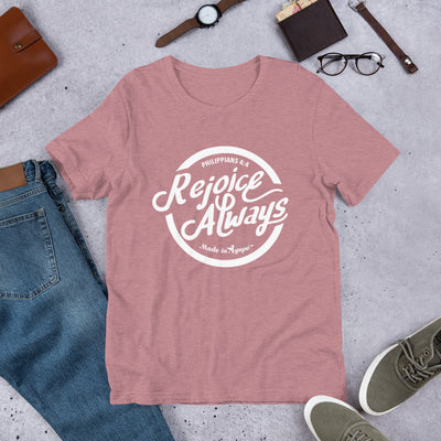 Rejoice Always - Cozy Fit Short Sleeve Tee-Heather Orchid-S-Made In Agapé