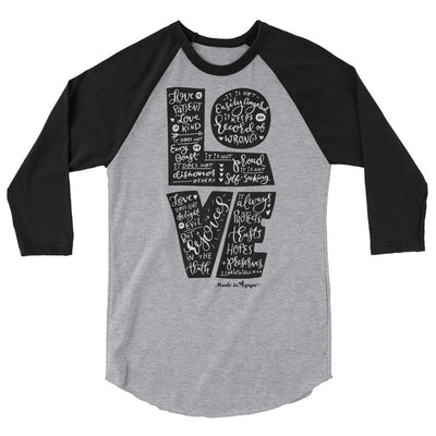 Love Is Patient - Unisex 3/4 Sleeve Raglan Baseball Tee-Heather Grey/Black-XS-Made In Agapé