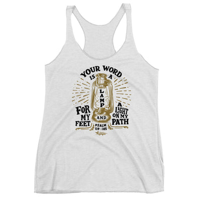 Lamp For Feet And Light On Path - Ladies' Triblend Racerback Tank-Heather White-XS-Made In Agapé