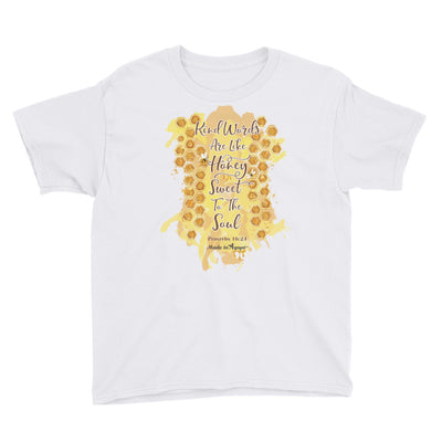Kind Words Are Like Honey - Youth Short Sleeve Tee-White-XS-Made In Agapé