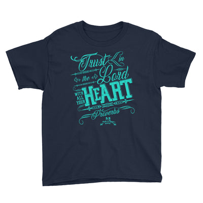 Trust In The Lord - Youth Short Sleeve Tee-Navy-XS-Made In Agapé