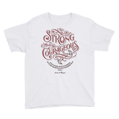 Be Strong And Courageous - Youth Short Sleeve Tee-White-XS-Made In Agapé