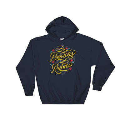 She's More Precious Than Rubies - Women's Hoodie-Navy-S-Made In Agapé