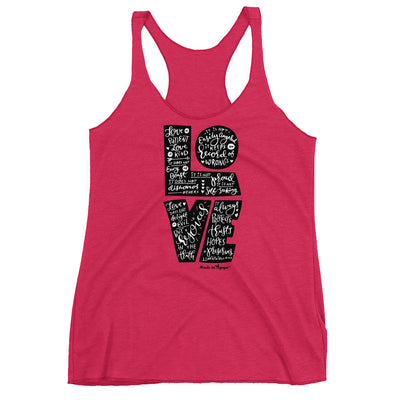 LOVE Is Patient - Ladies' Triblend Racerback Tank-Vintage Shocking Pink-XS-Made In Agapé