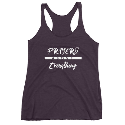 Prayers Above Everything - Ladies' Triblend Racerback Tank-Vintage Purple-XS-Made In Agapé