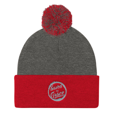 Saved By Grace - Pom Pom Knit Beanie-Dark Heather Grey/ Red-Made In Agapé