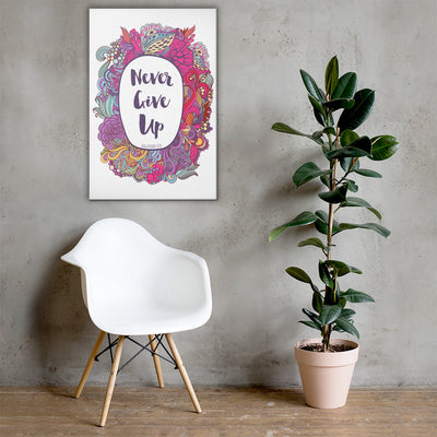 Never Give Up - Canvas Wall Art-24×36-Made In Agapé