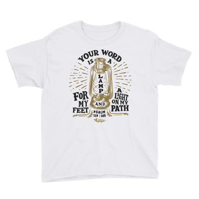 Lamp For Feet And Light On Path - Youth Short Sleeve Tee-White-XS-Made In Agapé