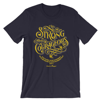 Be Strong And Courageous - Cozy Fit Short Sleeve Tee-Navy-XS-Made In Agapé