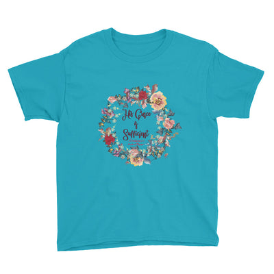 His Grace Is Sufficient - Youth Short Sleeve Tee-Caribbean Blue-XS-Made In Agapé