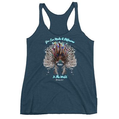 Make A Difference In This World - Ladies' Triblend Racerback Tank-Indigo-XS-Made In Agapé