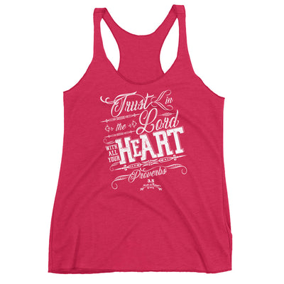Trust In the Lord - Ladies' Triblend Racerback Tank-Vintage Shocking Pink-XS-Made In Agapé