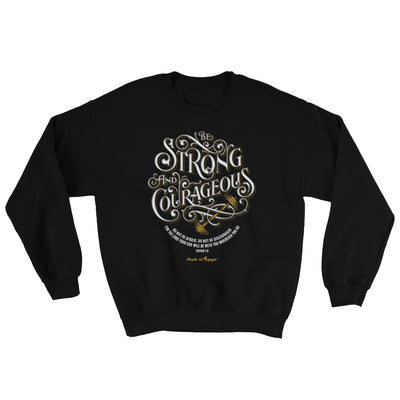 Be Strong And Courageous - Men's Sweatshirt-Black-S-Made In Agapé