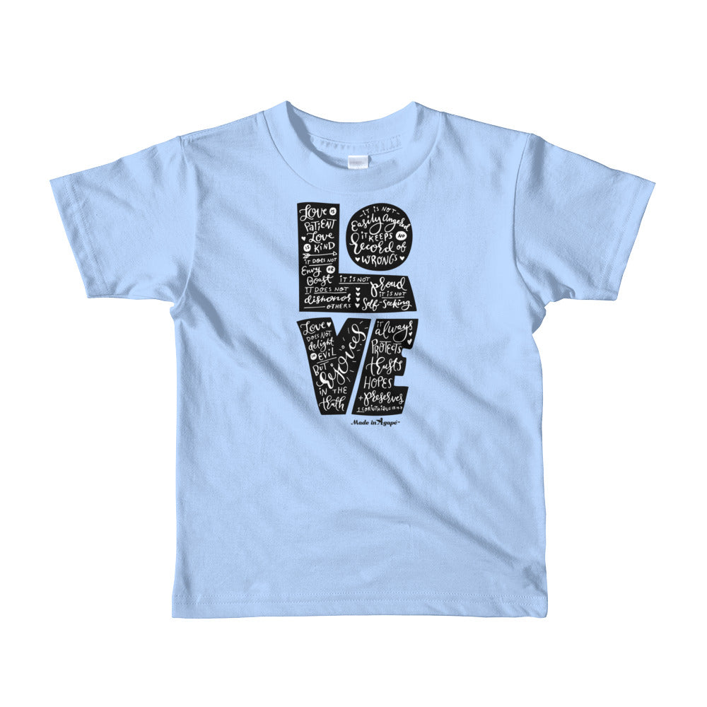 LOVE Is Patient - Kids T-Shirt-Baby Blue-2yrs-Made In Agapé