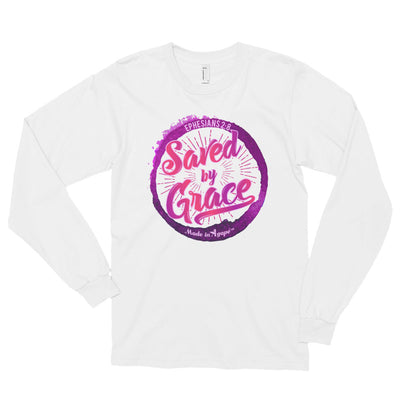 Saved By Grace - Unisex Long Sleeve Shirt-White-S-Made In Agapé
