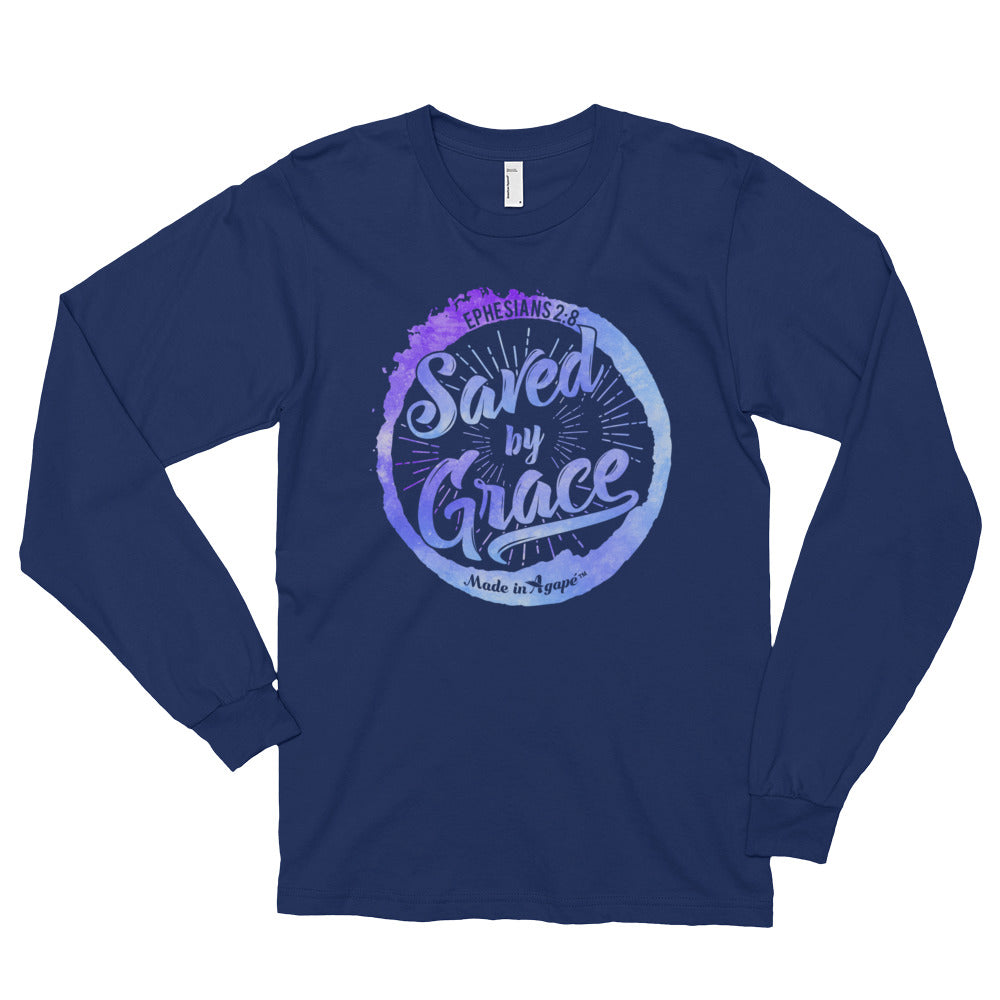 Saved By Grace - Unisex Long Sleeve Shirt-Navy-S-Made In Agapé