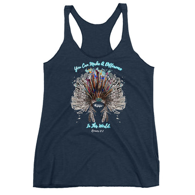Make A Difference In This World - Ladies' Triblend Racerback Tank-Vintage Navy-XS-Made In Agapé