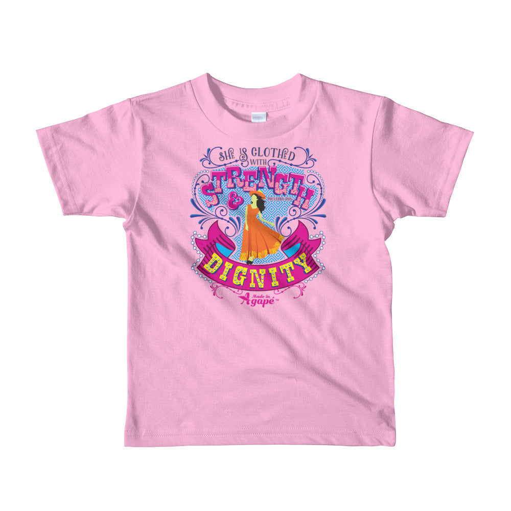 Clothed With Strength And Dignity - Kids T-Shirt-Pink-2yrs-Made In Agapé