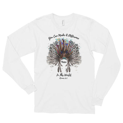 Make A Difference In The World - Unisex Long Sleeve Shirt-White-S-Made In Agapé