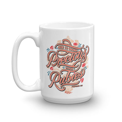 More Precious Than Rubies - Coffee Mug-15oz-Left Handle-Made In Agapé