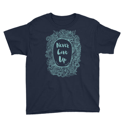 Never Give Up - Youth Short Sleeve Tee-Navy-XS-Made In Agapé