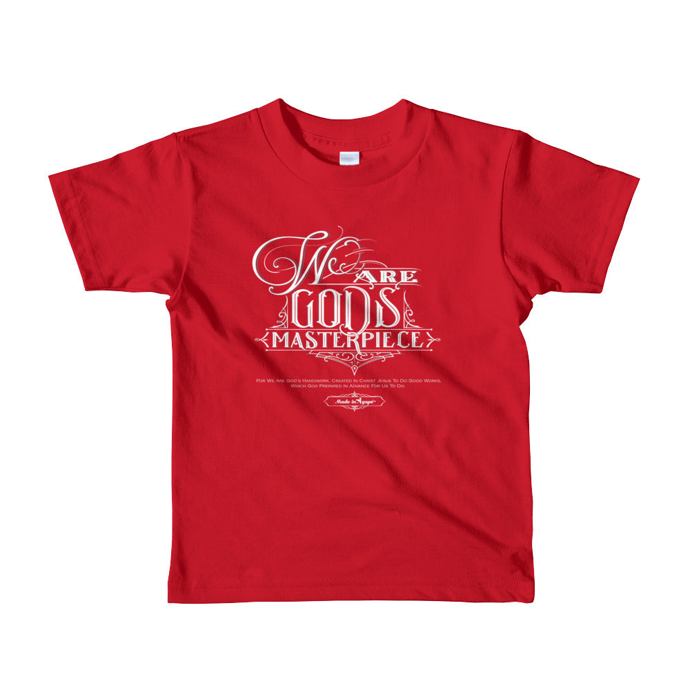 We Are God's Masterpiece - Kids T-Shirt-Red-2yrs-Made In Agapé