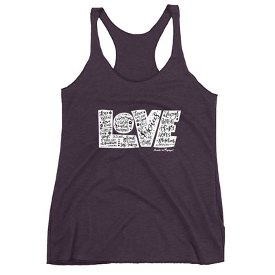 LOVE Protects - Ladies' Triblend Racerback Tank-Vintage Purple-XS-Made In Agapé