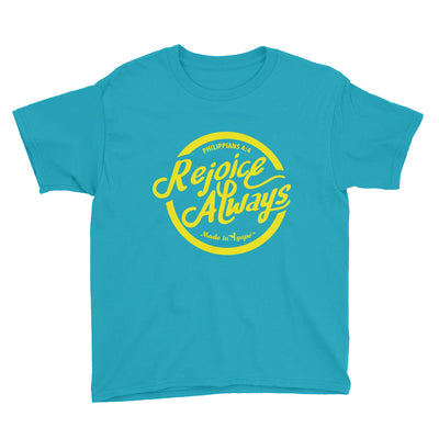 Rejoice Always - Youth Short Sleeve Tee-Caribbean Blue-XS-Made In Agapé