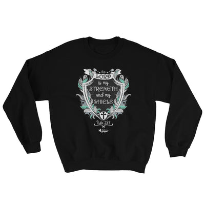 Lord Is My Strength And Shield - Men's Sweatshirt-Black-S-Made In Agapé