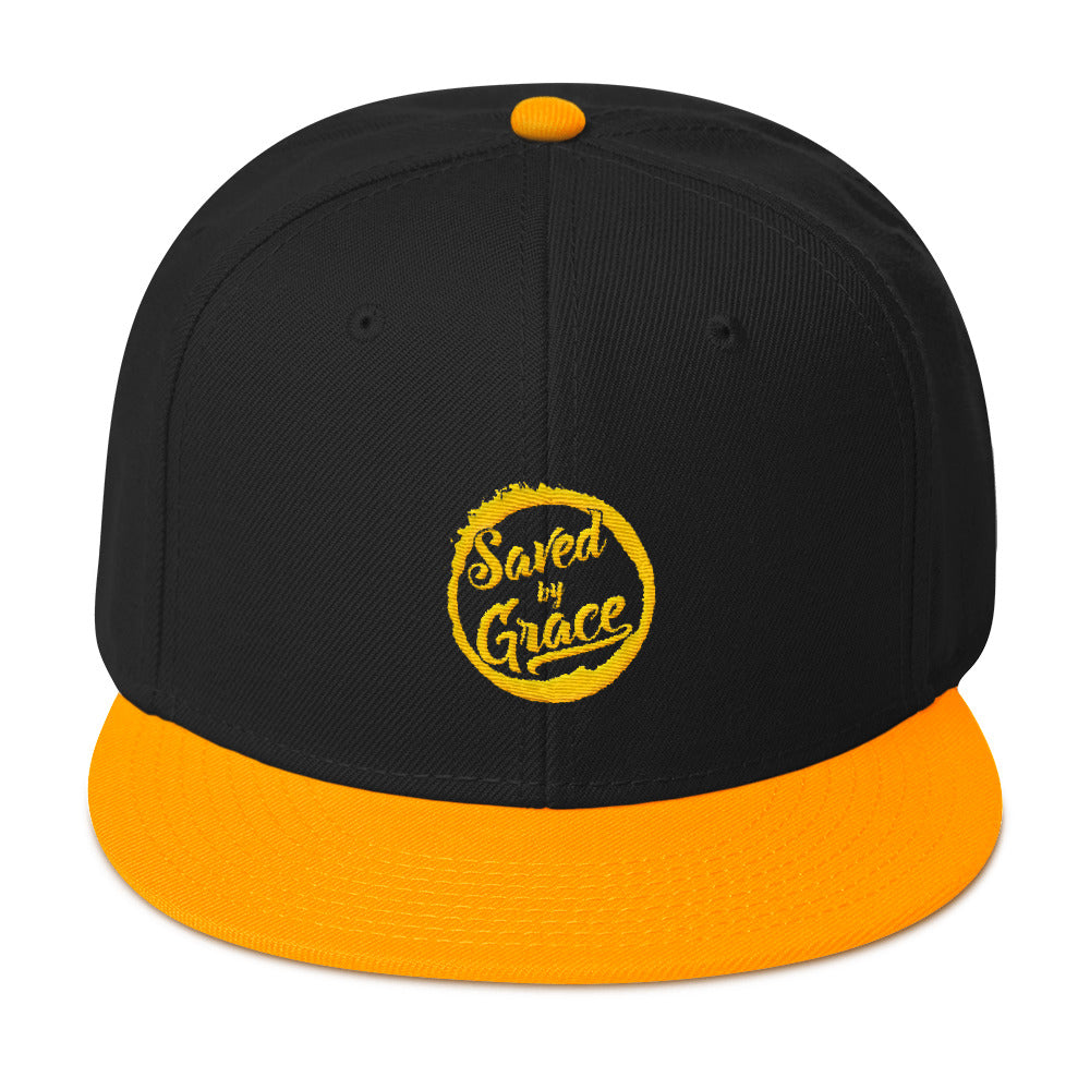 Saved By Grace - Snapback Hat-Gold / Black / Black-Made In Agapé