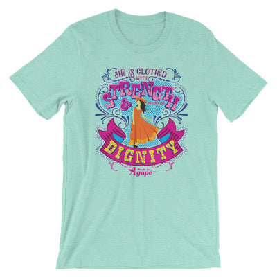 She's Clothed With Strength And Dignity - Cozy Fit Short Sleeve Tee-Heather Mint-S-Made In Agapé