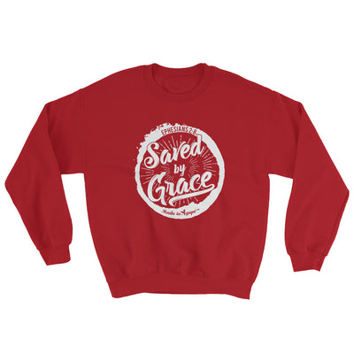 Saved By Grace - Men's Sweatshirt-Red-S-Made In Agapé