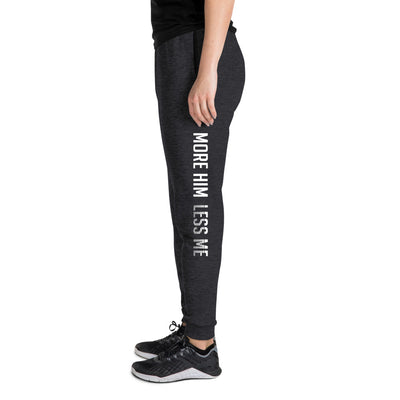 More Him Less Me - Unisex Fleece Joggers-Black Heather-S-Made In Agapé