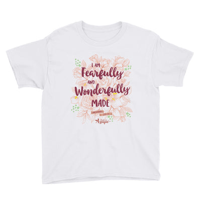Fearfully And Wonderfully Made - Youth Short Sleeve Tee-White-XS-Made In Agapé