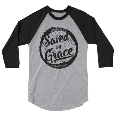 Saved By Grace - Unisex 3/4 Sleeve Raglan Baseball Tee-Heather Grey/Black-XS-Made In Agapé