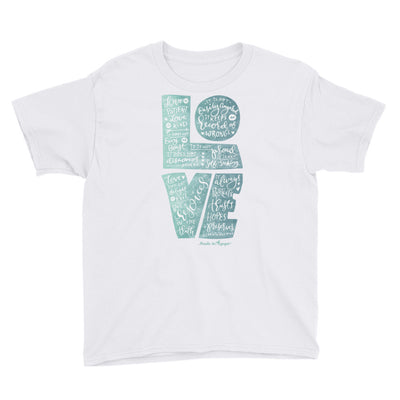 LOVE is Patient - Youth Short Sleeve Tee-White-XS-Made In Agapé