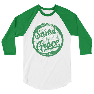 Saved By Grace - Unisex 3/4 Sleeve Raglan Baseball Tee-White/Kelly-XS-Made In Agapé