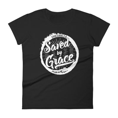 Saved By Grace - Ladies' Fit Tee-Black-S-Made In Agapé