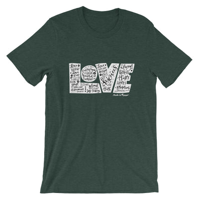 LOVE Protects - Cozy Fit Short Sleeve Tee-Heather Forest-S-Made In Agapé