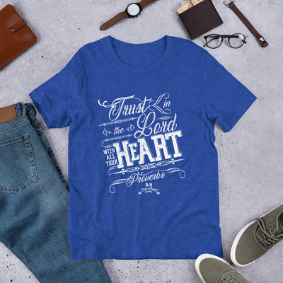 Trust In The Lord - Unisex Crew-Heather True Royal-S-Made In Agapé