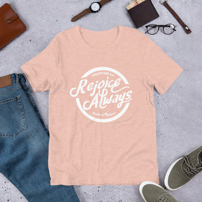 Rejoice Always - Cozy Fit Short Sleeve Tee-Heather Prism Peach-S-Made In Agapé