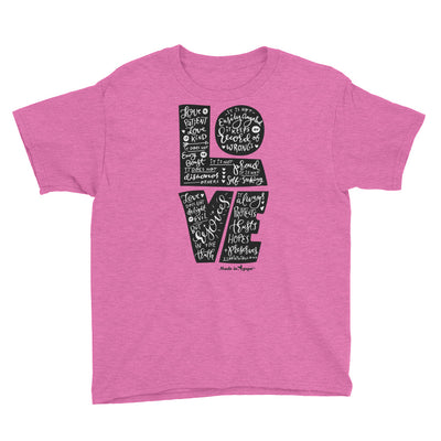 LOVE is Patient - Youth Short Sleeve Tee-Heather Hot Pink-XS-Made In Agapé